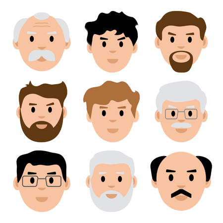 Flat set of young and old men, avatar, vector illustration
