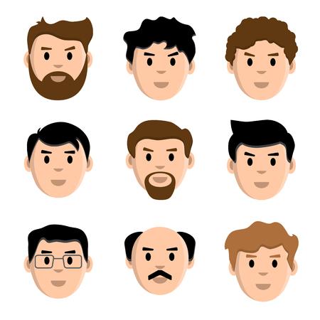 Flat set of men, vector illustration Ilustração