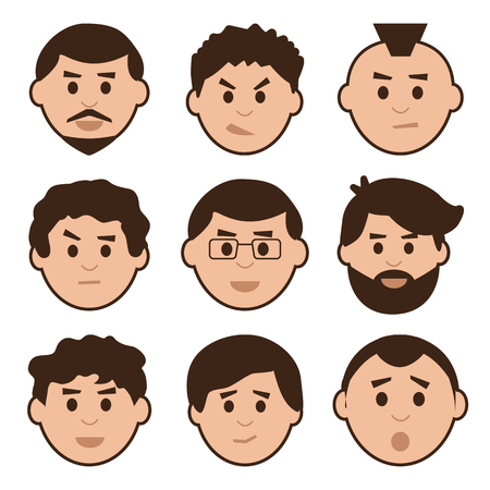 Flat set of men, avatar with different emotions, vector illustration Ilustração Vetorial