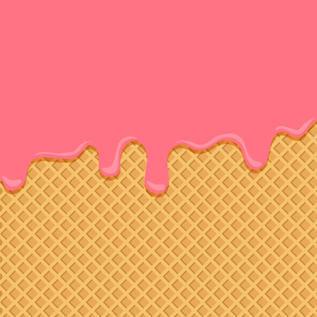 Pink ice cream flowing down on wafer background. Vector illustration