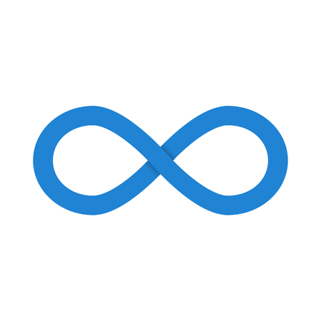 Blue infinity symbol with shadow isolated on white background. Vector illustration Ilustração