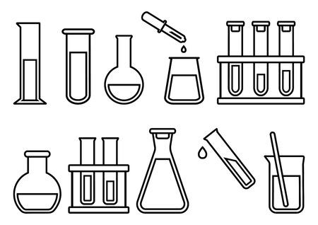 Chemical equipment, chemical flasks, outline design. Vector illustration Vektorové ilustrace