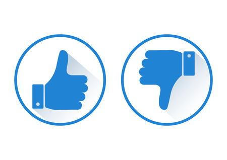 Thumb up and down. Like and dislike. Blue round icon with shadow. Vector illustration