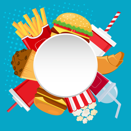 Round white banner for your text with fast food and drink on blue background. Vector illustration Standard-Bild - 121464183