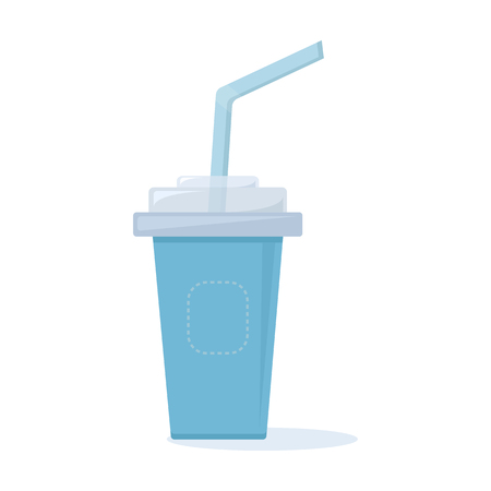 Blue plastic cup with lid and straw for coffee, tea, juice, cocktails. Vector illustration