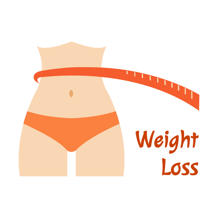 Woman with red ruler. Weight loss. Vector illustration