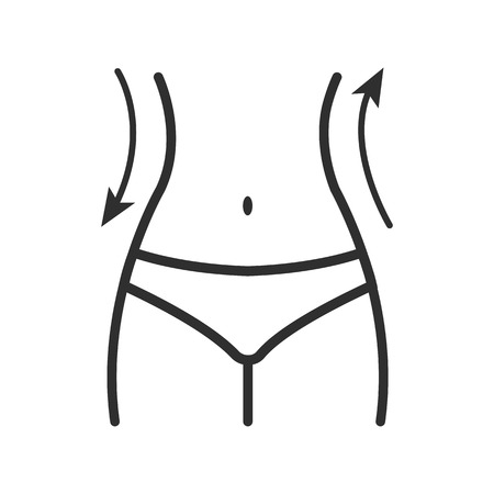 Women waist icon. Silhouette of female figure and arrows. Outline design. Vector illustration