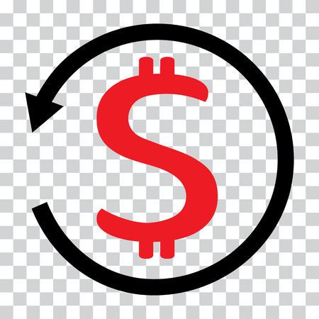 Red and black chargeback icon. Dollar symbol on transparent background. Vector illustration