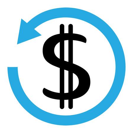 Blue and black chargeback icon. Dollar symbol on transparent background. Vector illustration Reklamní fotografie - 122967488