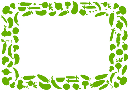 Green vegetable frame for text, vector illustration Ilustracja