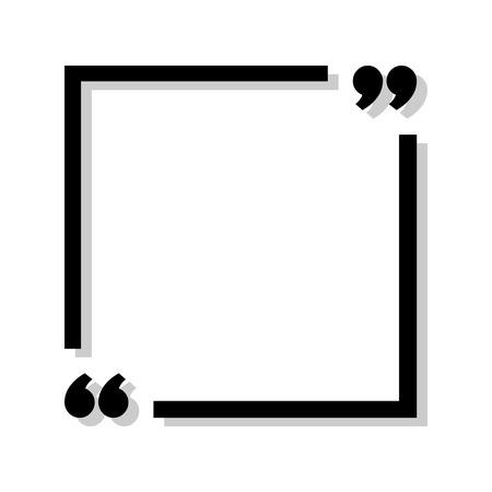Marco negro para su texto. Signo de cotización de texto. Icono negro en las esquinas de enfoque con sombra sobre fondo blanco. Ilustración vectorial Ilustración de vector