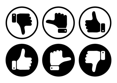 Hand with the thumb in black and white buttons. Vector illustration.