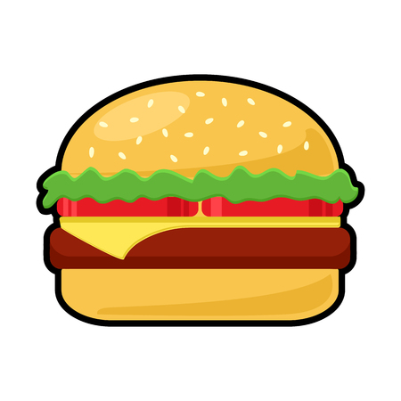 Colorful cheeseburger icon isolated, vector illustration