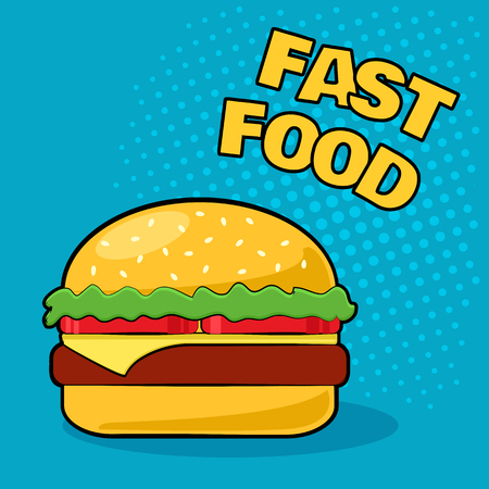Cheeseburger on a blue background in the style of pop art. Colorful vector illustration
