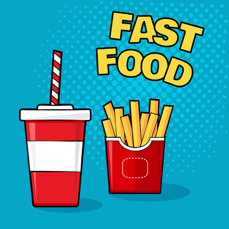 Fast food. Cup of soda with french fries on blue background, colorful vector illustration