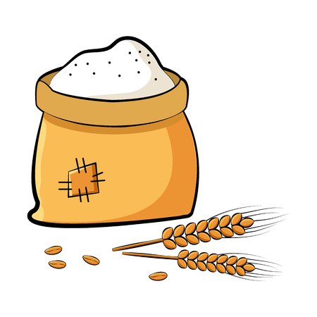 Bag of flour with wheat spikes and grains. Vector illustration