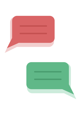 Set of dialog boxes with shadow, red and green. Vector illustration  イラスト・ベクター素材
