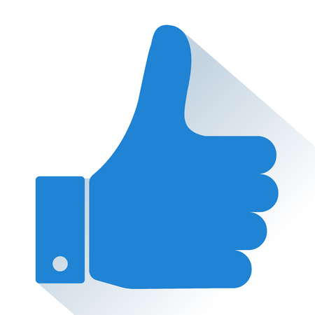 Thumb Up. Blue icon with shadow. Vector illustration