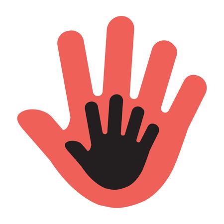 Hand van een kind in een volwassen hand, rode en zwarte afbeelding. vector illustratie