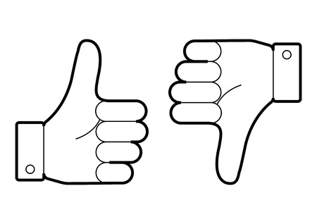 Thumb up and down. I like and dislike. Outline design. Vector illustration.