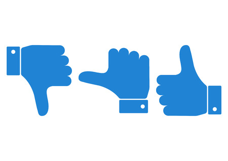 Blue set of hand with the thumb. Vector illustration.