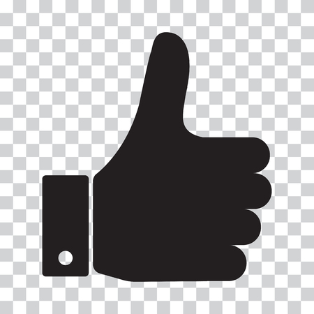 Thumb Up. Black icon on a transparent background. Vector illustration