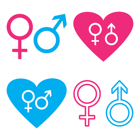 Blue and pink male and female symbols. Vector illustration