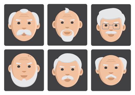 Flat set of face old men on gray background, avatar, vector illustration