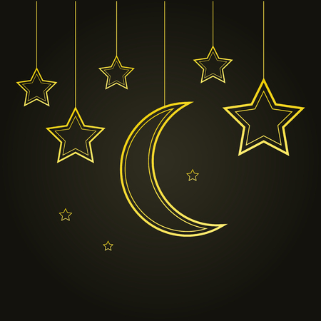 Golden stars and moon on black background. Vector illustration Çizim