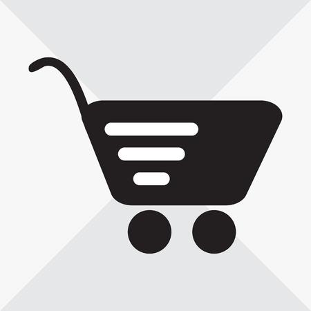 Shopping basket. Black and white icon. Vector illustration Ilustração