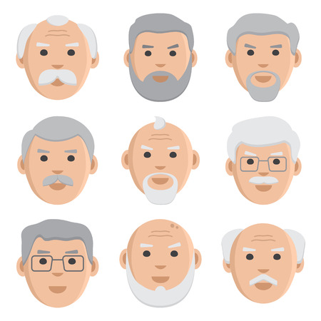 Flat set of face old men, avatar, vector illustration Çizim