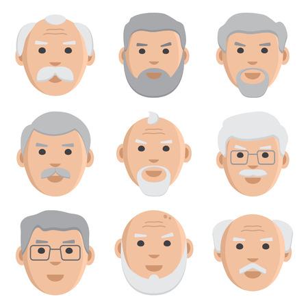Flat set of face old men, avatar, vector illustration Illustration
