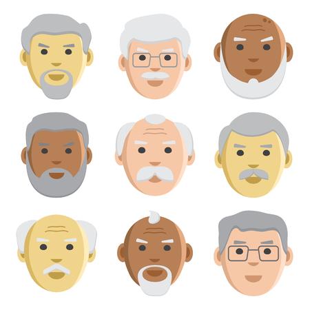 Platte reeks gezichten oude mannen, avatar, vectorillustratie