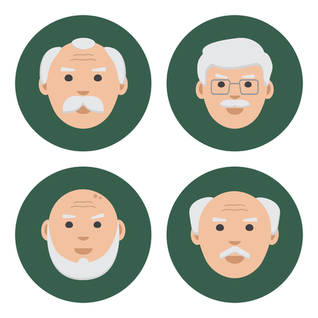 Colored set of face old men on green background, flat icons, vector illustration Illustration