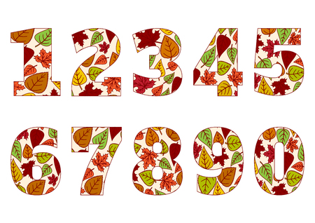 Isolated numbers from 0 to 9 with background of colorful autumn leaves. Vector illustration