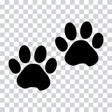 Black silhouette animal paw track isolated on transparent background. Vector illustration