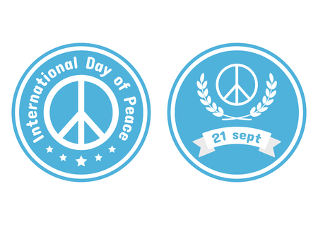 Logo set for International Day of Peace on blue background, vector illustration  イラスト・ベクター素材