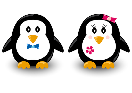 Cartoon penguins, boy and girl, vector illustration