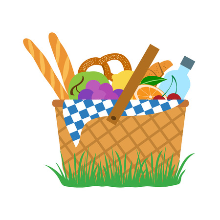 Picnic set: food and water in a basket, vector illustration