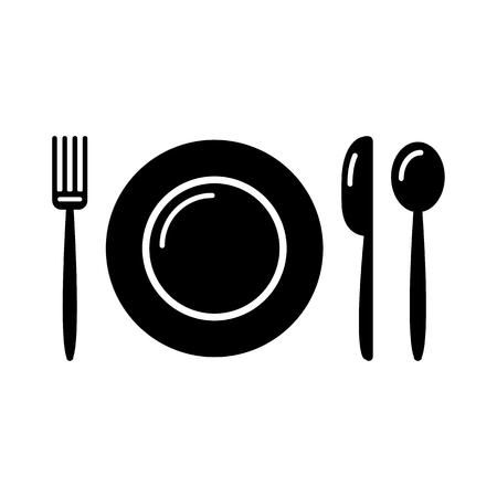 Black and white set - plate, fork, knife, spoon. Vector illustration
