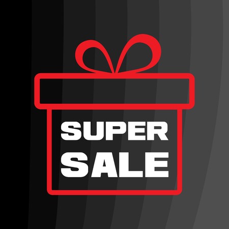 White inscription SUPER SALE. Red gift box on black background. Outline design. Vector illustration