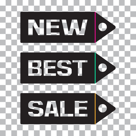 Inscriptions NEW, BEST, SALE. Black price tag icon on transparent background. Vector illustration