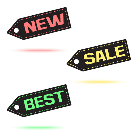 NEW. SALE. BEST. Colorful price tag icon with colored shadow. Vector illustration