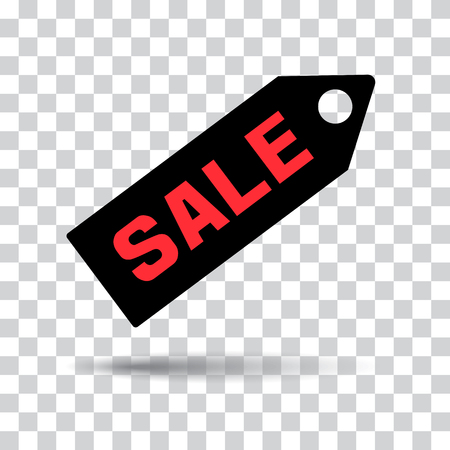 Red inscriptions SALE on black price tag icon with shadow on transparent background. Vector illustration Illustration