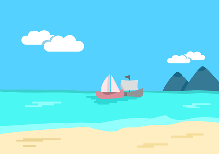 Tropical landscape. Colored background - sea or ocean, sandy shore, mountains, ships. Vector illustration