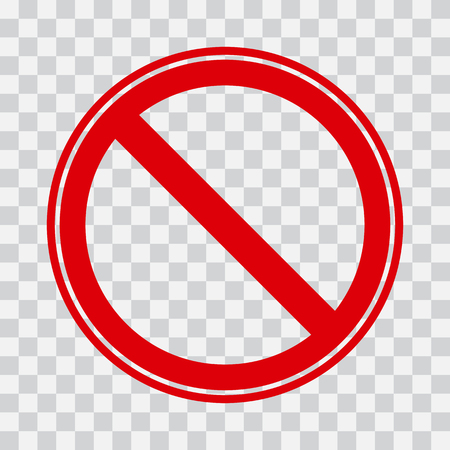 Red stop icon on transparent background. No symbol. Vector illustration Illustration