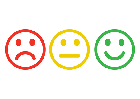 Red, yellow, green smileys emoticons icon negative, neutral and positive, different mood. Outline design. Vector illustration 向量圖像