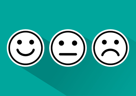Black and white set of smiley emoticons icon positive, neutral and negative, different mood on turquoise background. Vector illustration Illustration