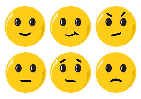 Conjunto de emoticonos amarillos con diferentes emociones. Ilustración vectorial Ilustración de vector