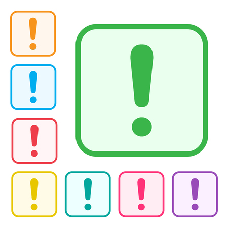 Exclamation mark. Warning or attention sign. Green icon and colorful set additional versions icons. Vector illustration